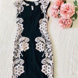 Paper Doll Black & Cream Lace Pencil Dress Size 2.